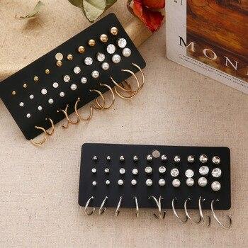 Minimalist Mixed Small Earrings Set Fashion Rhinestone Pearl Geometric Flower Heart Star Stud Earrings For Women Girls Jewelry 1