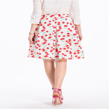 Summer Midi Skirt 2020 Europe Vintage Cherry Floral-Print Women Causal Street Style Lovely Skirts Elegant Ladies Basic Beachwear