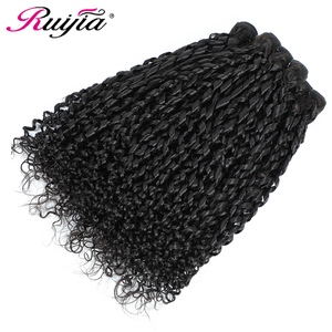 Pissy Curl Bundles With 13x4Frontal Closure Human Hair Bundles Peruvian Hair Weave Bundles With Frontal Natural Black Remy Hair(China)