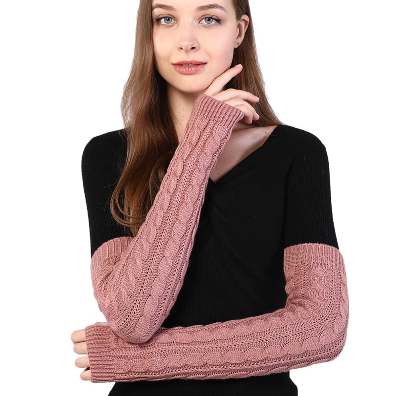 Women Sleeve Hand Warmer Winter Knit Arm Wrist Warmers Girls Mittens Fingerless Gloves