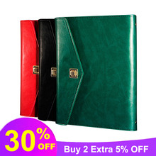 где купить Leather A5 Notebook Stationery Business Notepad Loose-leaf Schedule Book Minutes Bookkeeping Book Small Deduction Glosen 8256 дешево