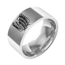 Sping Jewelry Attack on Titan Ring Band Titanium Steel The Wing of Liberty of The Investigation Corps Size 6-13