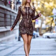 Women Dress Sexy Bodycon Lace Long Sleeve O Neck Slim Ladies Mini Dress