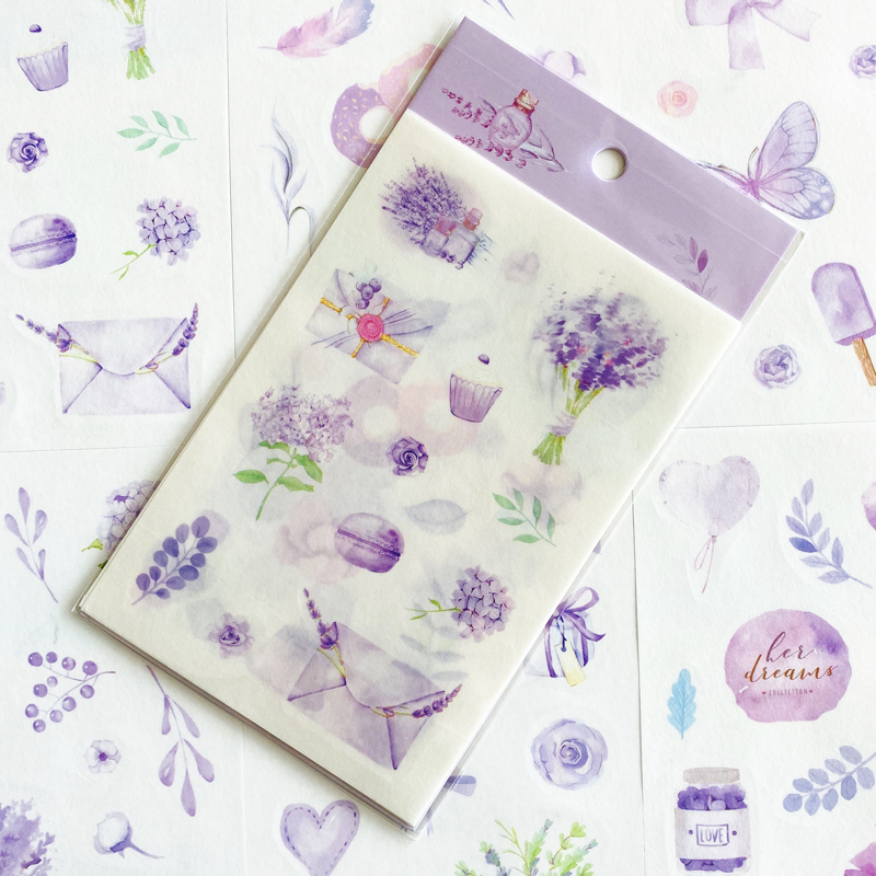 6 Sheets /Pack Cute Purple Color Flower Sticker Notebook Computer Phone DIY Decor Stick Label Kids Gift Stationery