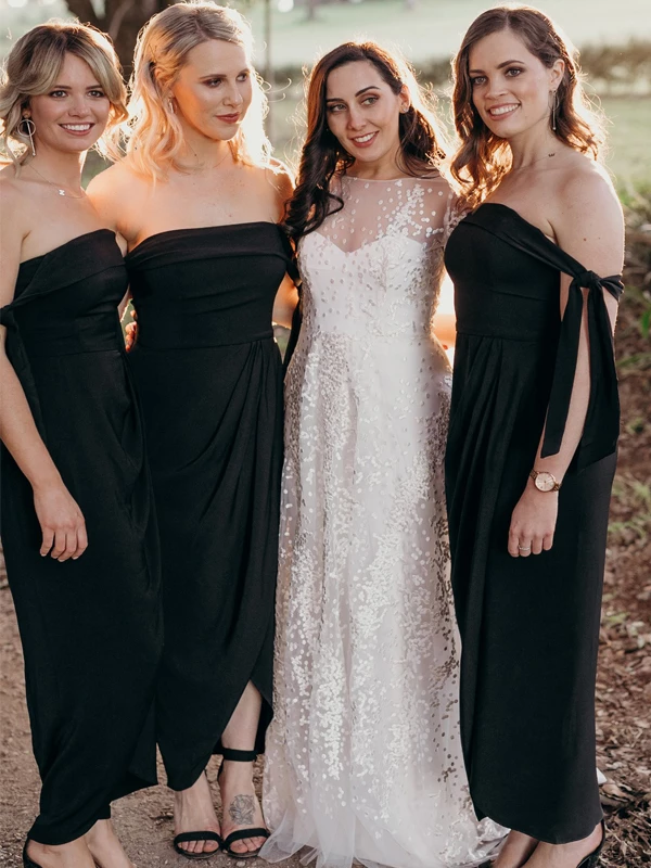 Black Bridesmaid Dresses 2020 Off The Shoulder Sheath Ankle-Length Wedding Guest Dress Vestido Madrinha