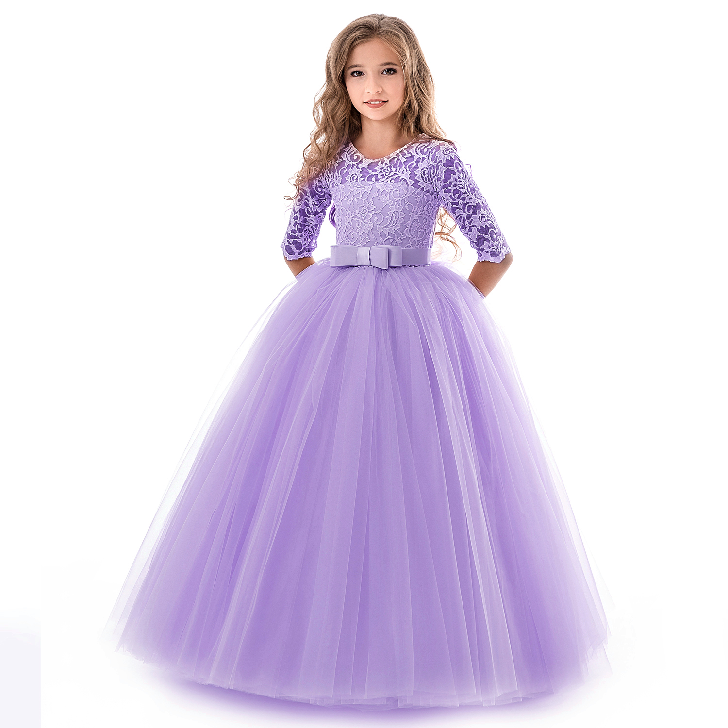 Girls Lace Dress For Wedding Embroidery Party Dresses Evening Christmas Girl Ball Gown Princess Costume Children Vestido 6 14Y 3