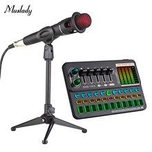 Muslady SK500 Tragbare Live Sound Card Voice Changer Gerät Audio Mixer Gebaut-in Mehrere Sound Effekte BT Verbindung