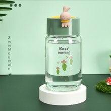 340ml simples garrafa de vidro novo estilo bonito copo de água portátil bonito criativo caneca com corda para girlfirends na promoção
