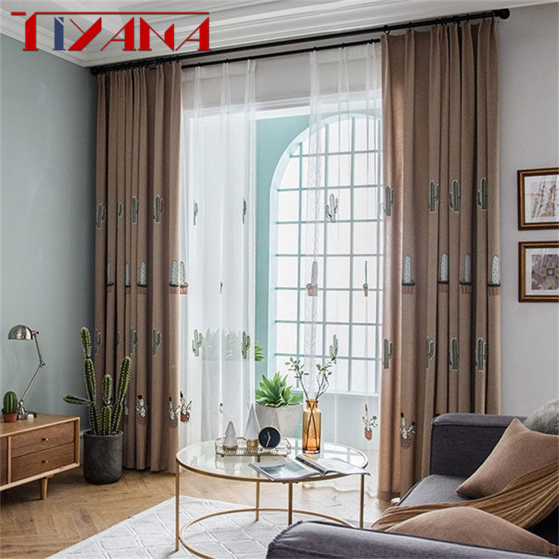 Cartoon Luxury Cotton And Linen Blackout Curtain Cactus Embroidery Curtain Fabric For Living Room Kids Room Curtains T163#4