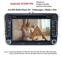 Lecteur multimédia de voiture GPS Android 10.0 2 Din pour VW/Volkswagen/POLO/PASSAT/Golf caméra Radio 4 cœurs 2GB + 16GB lecteur DVD DSP IPS