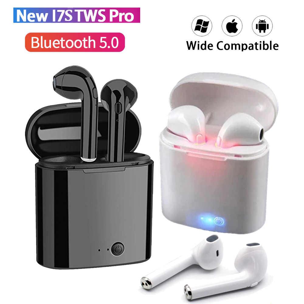 I7s TWS หูฟังไร้สายบลูทูธมินิสเตอริโอเบสหูฟังหูฟังกีฬาชุดหูฟังพร้อมกล่องชาร์จสำหรับ iPhone Xiaomi Huawei