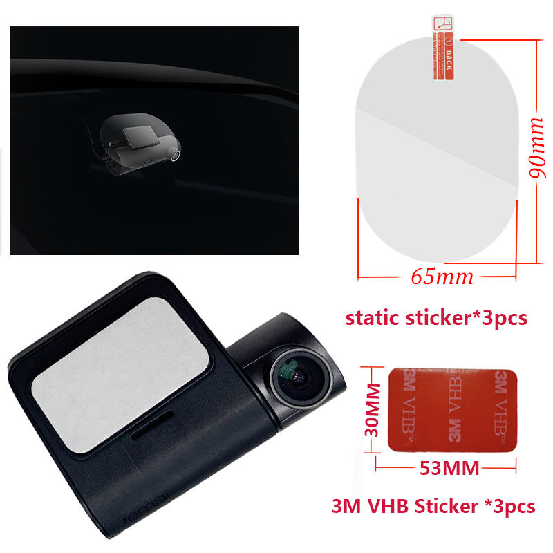 For Original 70 Mai Pro Dash Cam Smart Car DVR 3M Film And Static Stickers, Suitable For 70 Mai Pro Car DVR 3M Film Holder 3pcs