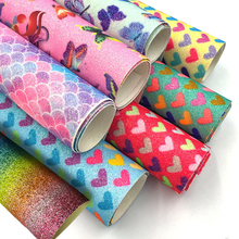 1Pc Glitter Rainbow Color PU Leather Fabric Bow Hairpin Jewelry Phone Case Bag Shoes Handamade Material Clothing DIY Accessories