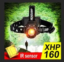 2021 mais novo farol led xhp160 ultra poderoso led farol 18650 lâmpada de cabeça recarregável xhp90 usb cabeça lanterna ao ar livre lâmpada