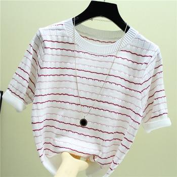 shintimes Color Stripes Short Blouse Women Summer Korean Hit Knitted Shirt Femme Womens Tops Sleeve Clothes