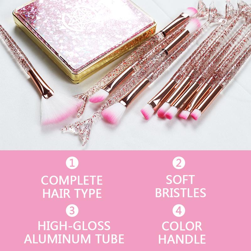 Dighealth 10pcs Mermaid Brush Foundation Powder Eye shadow Eyeliner Makeup Brushes Eyebrow Blush Lip Make Up Brush Mermaid Set 2