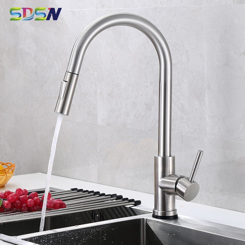 Pull Out Kitchen Faucet SDSN 304 Stainless Steel Pull Down Kitchen Mixer Tap Brushed Nickel Kitchen Faucets Hot Cold Water Taps