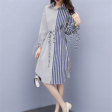 long sleeve dress Stripe splicing midi 2019 autumn the new style fashion clothes for women plus size casual loose