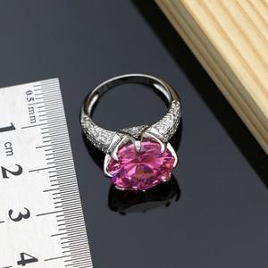 Image 4 - כסף 925 תכשיטי גדול ורוד מעוקב Zirconia סטי תכשיטים לנשים עגילי עם אבנים טבעת שרשרת סט Dropshipping