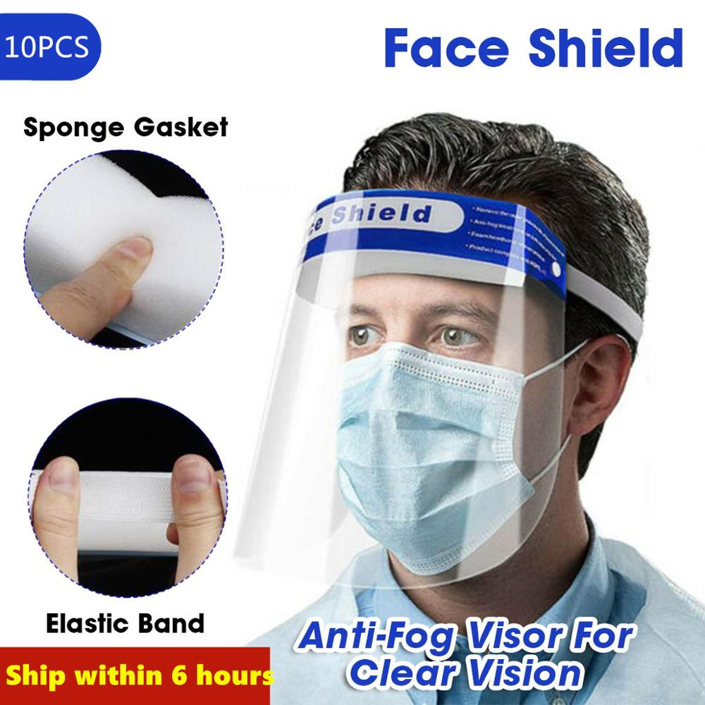 10PCS Transparent Anti-drop And Dust-proof Protection Full Face Covering Mask Sun Visor Blocking Spit Mask