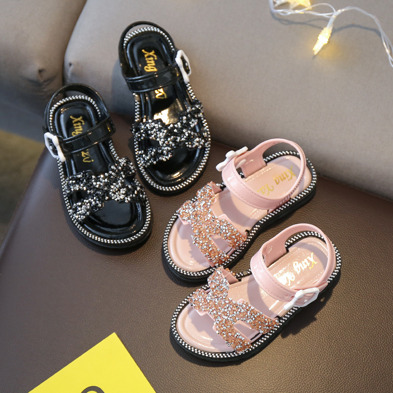 Girl Sandals 2020 Summer New Korean Fashion Princess Dress Shoe Anti-Slip Soft Bottom Big Girls Sandals Toddler Pink Silver