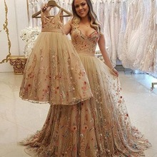 Evening-Dresses Champagne Wedding Formal Party Daughter And Night-Vestidos Largos Spaghetti-Straps