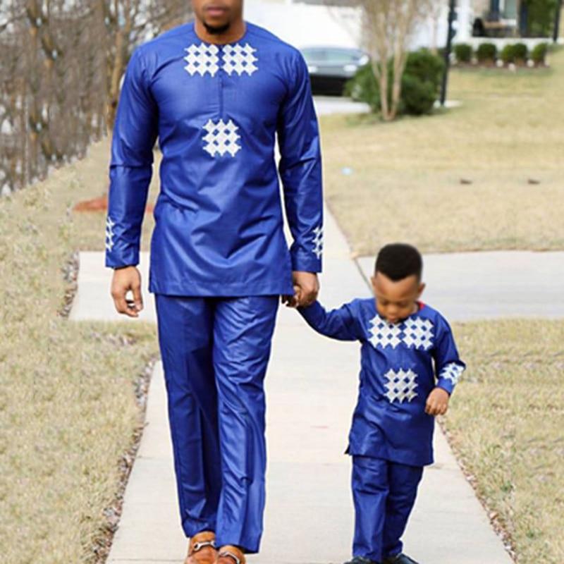 Children Parent Boy Africa Men Bazin Riche Dashiki Clothing African Mens Clothes Top Pant 2 Pieces Suits  Plus Size   PH2779
