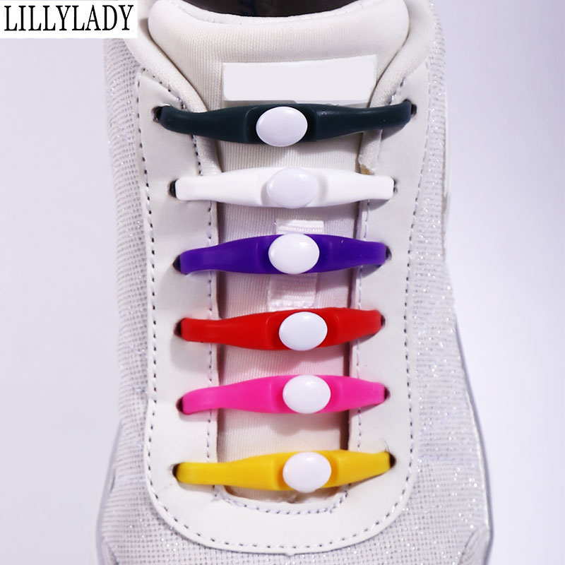 Silicone No Tie Shoelaces 12pcs/lot Elastic Shoe Laces Accessories Elastic Lace Shoelace Creative Lazy Silicone Laces Rubber
