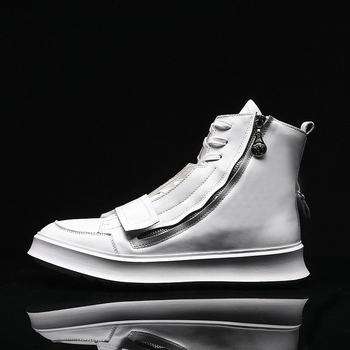 Spring Autumn Men Young Casual Shoes Comfortable Men Zipper Sneakers High Top Flats Men Shoes Designer Brand Casual Men Sneakers