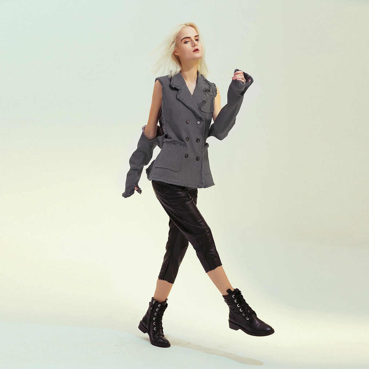 Демисезонная женская одежда, потертые двубортные блейзеры с открытыми плечами, костюм с рукавами и серым соединением, куртка с длинными рукавами, пальто