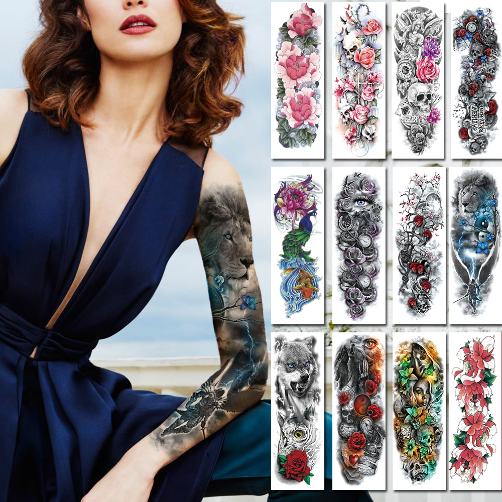 Large Arm Sleeves Tattoos Waterproof Temporary Rose Lotus Women Girl Flower Tattoo Sticker Skull Angel Men Full Fake Black Tatoo