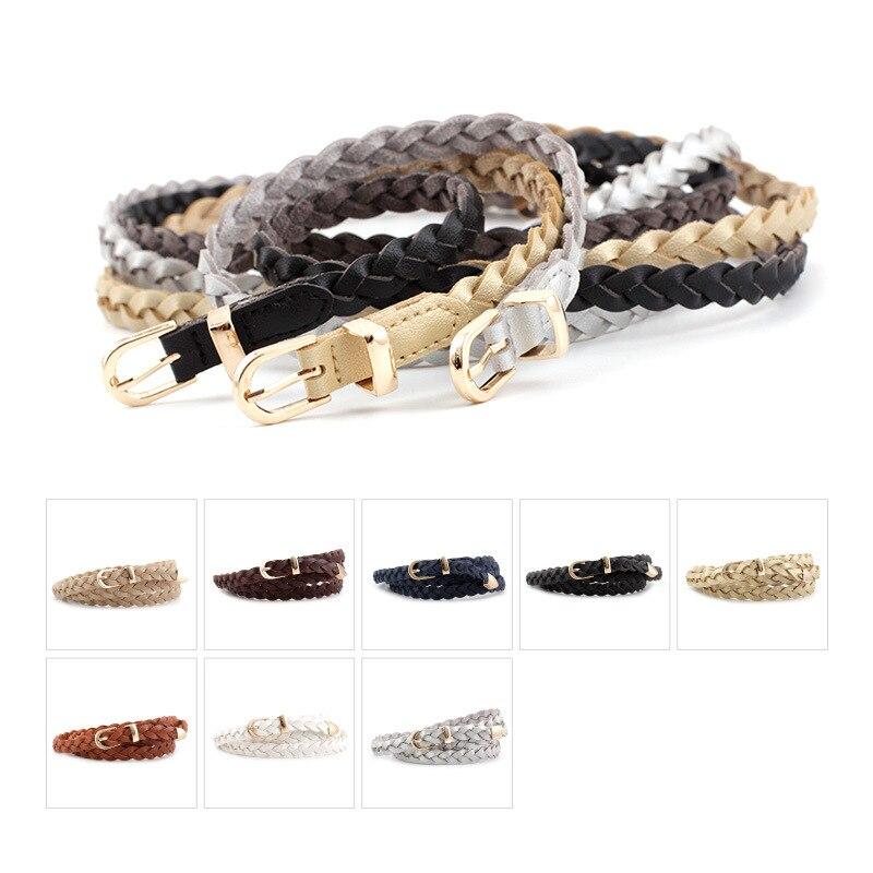 Women's PU Leather Braided Belt Golden Pin Buckle Belt New Fashion Causal Jeans Dress Waistband 1.2cm Thin Belt P82