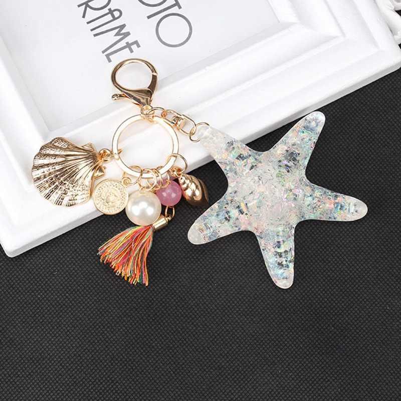 น่ารักปลาดาว SHELL Key CHAIN คริสตัลจี้ Pearl SHELL Keychain พวงกุญแจโซ่ KYE ของขวัญ Keychain แหวนสำหรับคริสต์มาสของขวัญ