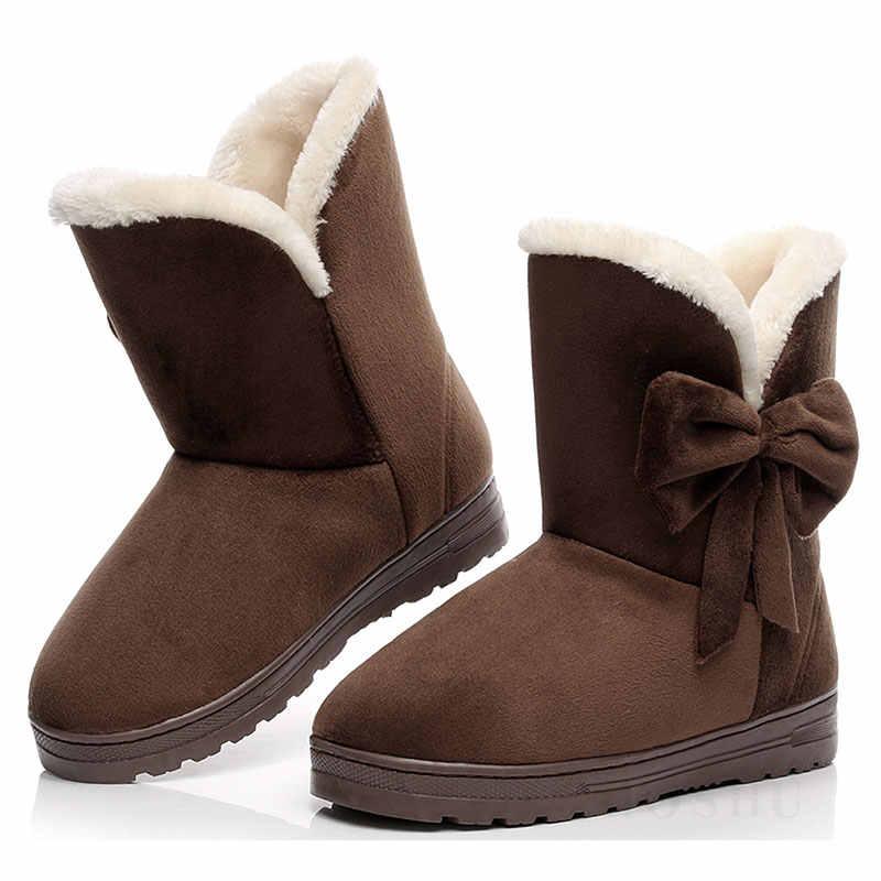Yay kış kar yarım çizmeler kadınlar sıcak kürk çizmeler peluş ayakkabı kadınlar için siyah patik kelebek Botas Mujer Invierno kadın