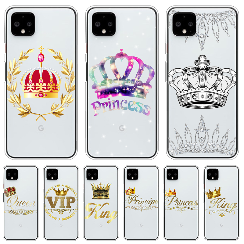 King Queen Crown Couples Phone Case For Google Pixel 2 XL 3A 4 2 Capas TPU Soft Fundas For Google Pixel 4XL 3A 3 XL Cover Coque