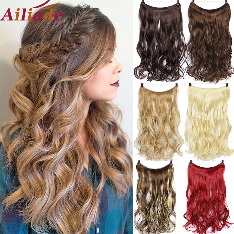 AILIADE 22Inch No clip Secret Invisible One Piece Heat Resistant fiber Synthetic Hair Extensions for Women Long Wavy Hairpiece