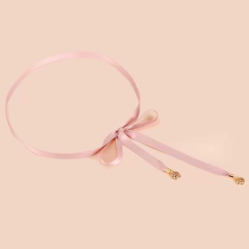 Розовая лента, тонкая лента, атласный пояс, золотая металлическая Роза, подвеска, кисточка, шнуровка, бант, пояса для платья, платье-свитер, Тренч, рубашка