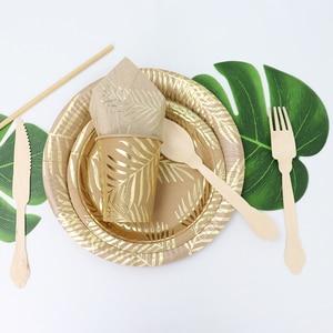Image 3 - Conjunto para mesa de papel Kraft desechable, color dorado, placa con patrón de hoja de palma, taza, toalla de papel, paja, fiesta, boda, cumpleaños, cubiertos