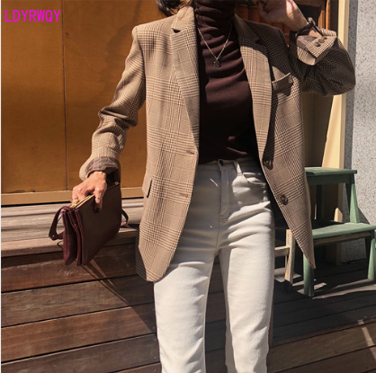 2019 autumn new South Korea British retro plaid casual long-sleeved suit jacket female Single Breasted  Regular