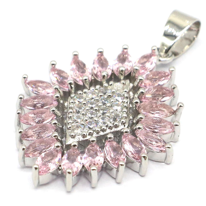 42x27mm 2020 Hot Sell Created Pink Kunzite CZ Gift For Girls Silver Pendant