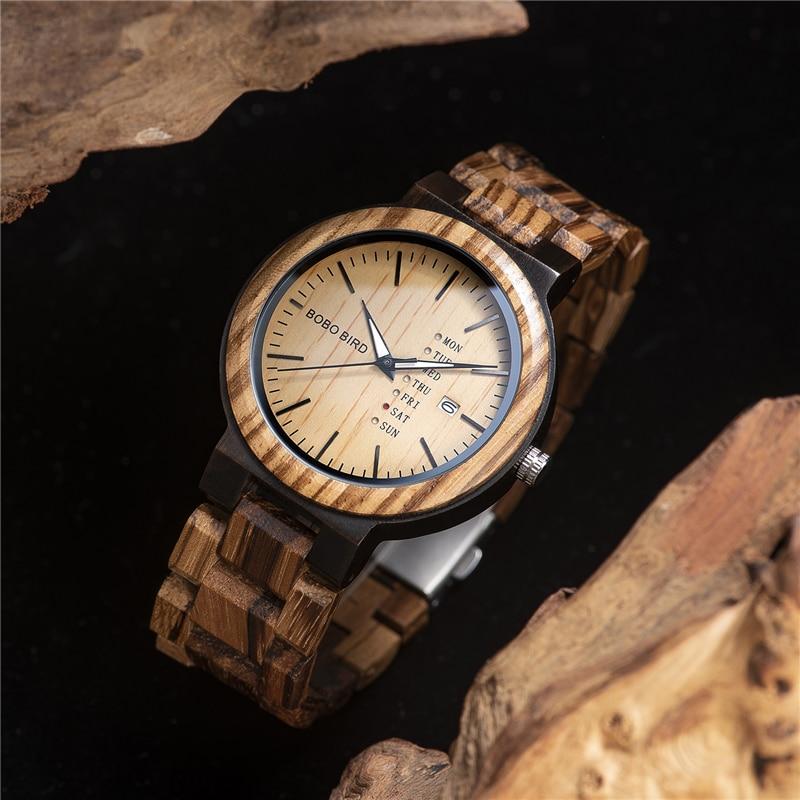 Image 4 - Часы BOBO BIRD Wood, мужские часы relogio masculino, часы с отображением недели и даты, повседневные Деревянные Часы бойфренда, лучший подарок V O26displaydisplay watchdisplay wood -