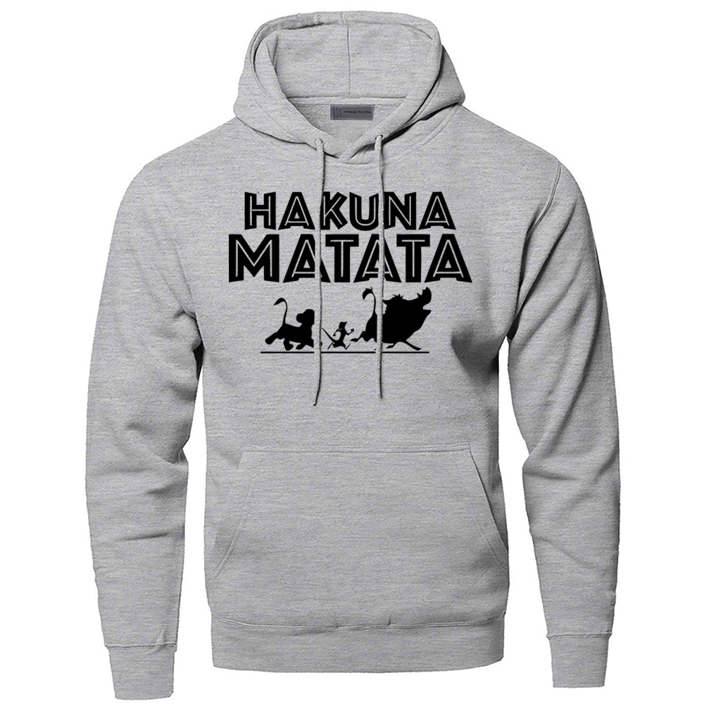 The <font><b>Lion</b></font> <font><b>King</b></font> <font><b>Hakuna</b></font> <font><b>Matata</b></font> Hoodies Sweatshirts Men Simba Pumbaa Timon Hooded Hoodie 2019 Winter Autumn Movie Cartoon Sportswear image