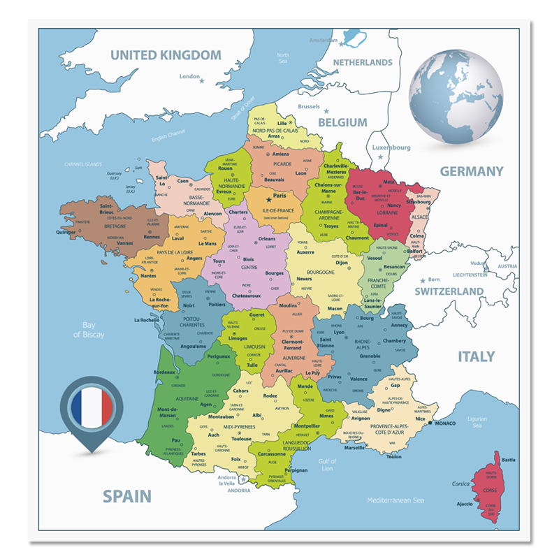 France Map Poster Size Wall Decoration Large Map Of The France 60x60cm Waterproof And Tear-resistant