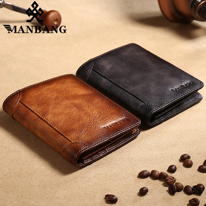 ManBang 2020 HOT Genuine Leather Men Wallet Small Mini Card Holder Male Wallet Pocket Retro purse High Quality