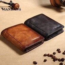 ManBang 2020 gorący skórzany portfel męski mały Mini etui na karty portfel męski kieszonkowy torebka w stylu Retro wysokiej jakości