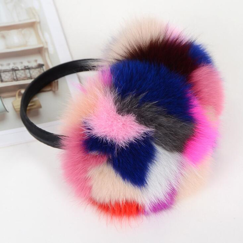 Winter Women Warm Natural Real Fox Fur Earmuffs Girl's Earlap 6 Colors
