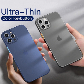 Matte Camera Lens Protection Case for Apple iPhone 12 Pro Max 11 Mini XS XR 6s 7 8 Plus Color Button Clear Bumper Phone Cover image
