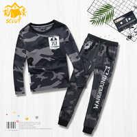 Vêtements pour enfants garçon camouflage vêtements armée fan bébé sport à manches longues chemise pantalons décontractés pull ensemble deux pièces