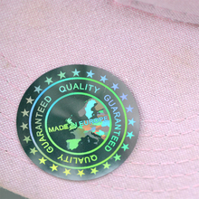 Baseball caps stickers Label MADE IN EUROPE  Quality Guaranteed Hologram sticker  40mm large cloth stickers holographic stickers