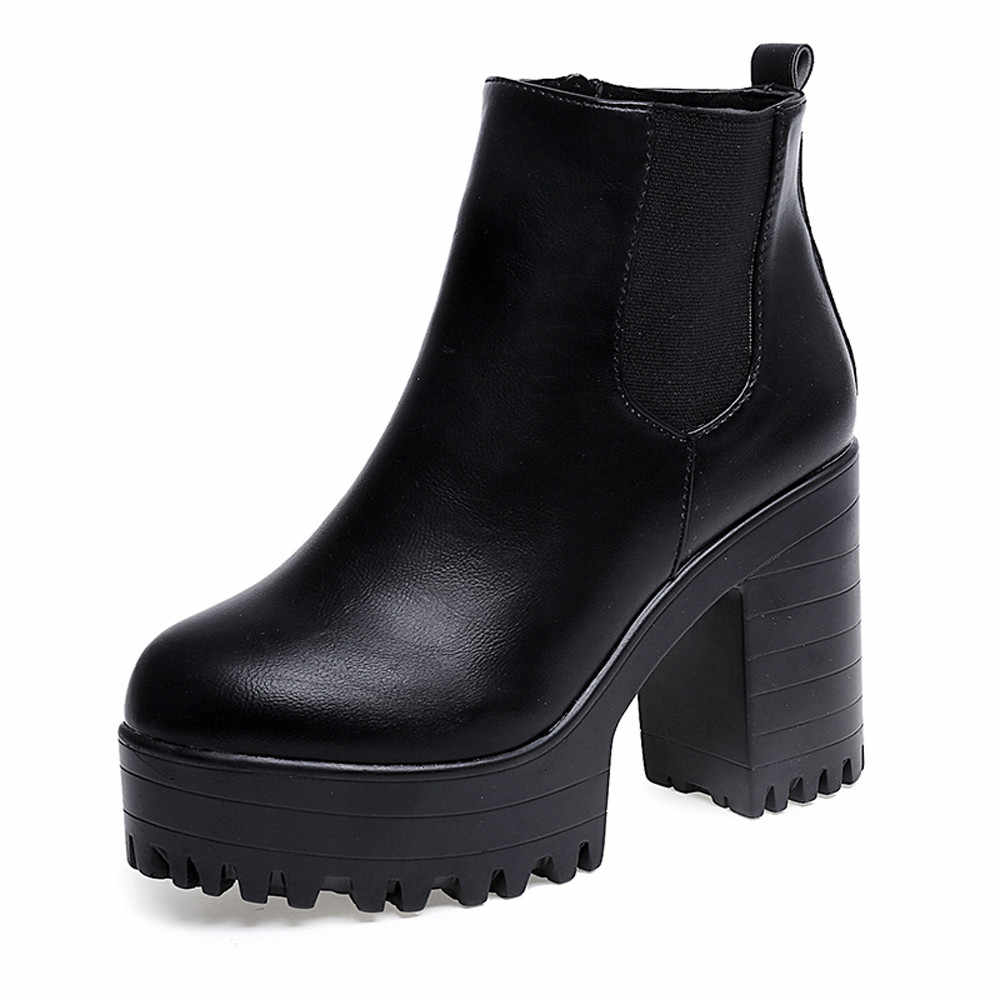 Fashion Martin Boots Female Leather Chelsea Boot Thick Heels Ankle Boots Solid Round Toe Winter Soft Platform Slip On Flat Shoes